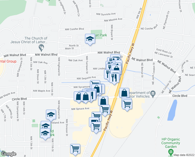 map of restaurants, bars, coffee shops, grocery stores, and more near 934 Northwest Sequoia Avenue in Corvallis