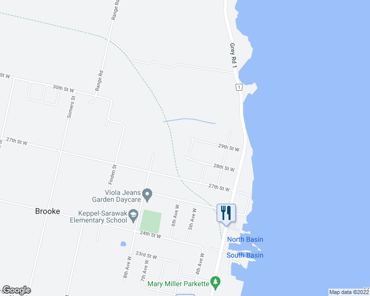map of restaurants, bars, coffee shops, grocery stores, and more near 2860 6th Avenue West in Owen Sound