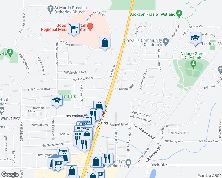 map of restaurants, bars, coffee shops, grocery stores, and more near Hwy 99W & NE Conifer Blvd in Corvallis
