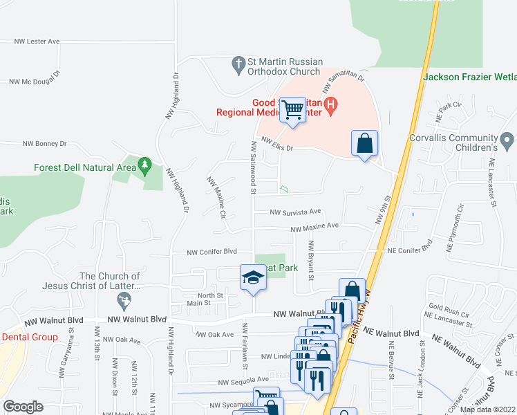 map of restaurants, bars, coffee shops, grocery stores, and more near 695 Northwest Survista Avenue in Corvallis