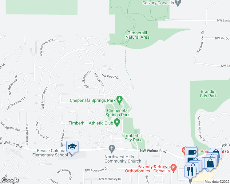 map of restaurants, bars, coffee shops, grocery stores, and more near 3205 Northwest Foxtail Street in Corvallis