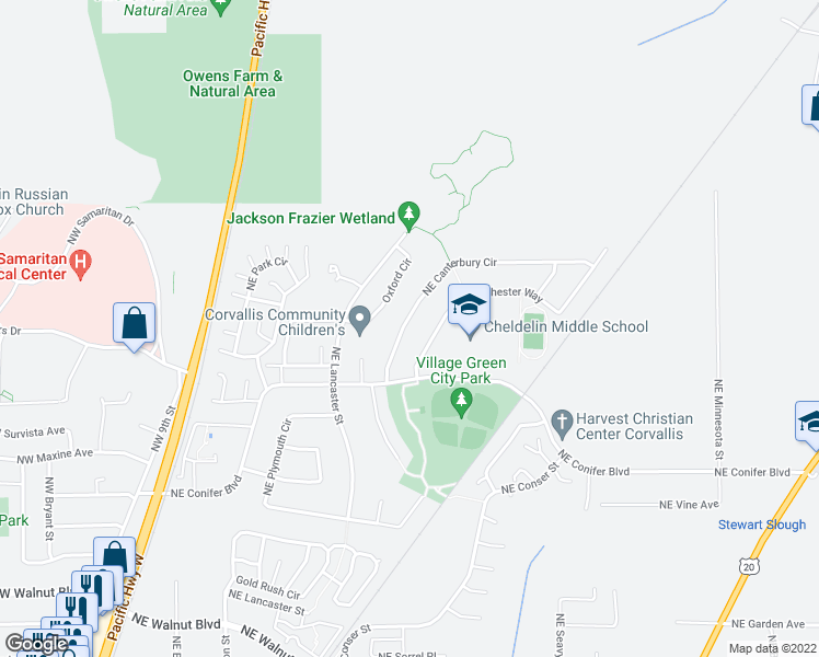 map of restaurants, bars, coffee shops, grocery stores, and more near 3325 Northeast Canterbury Circle in Corvallis