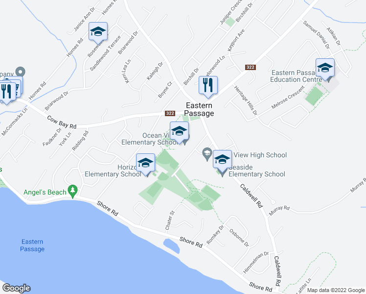 map of restaurants, bars, coffee shops, grocery stores, and more near 51 Oceanview School Road in Eastern Passage