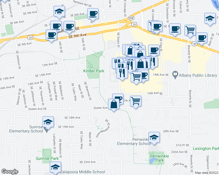 map of restaurants, bars, coffee shops, grocery stores, and more near 1490-1578 Geary Circle Southeast in Albany