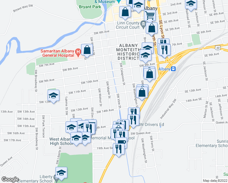map of restaurants, bars, coffee shops, grocery stores, and more near 705 12th Avenue Southwest in Albany