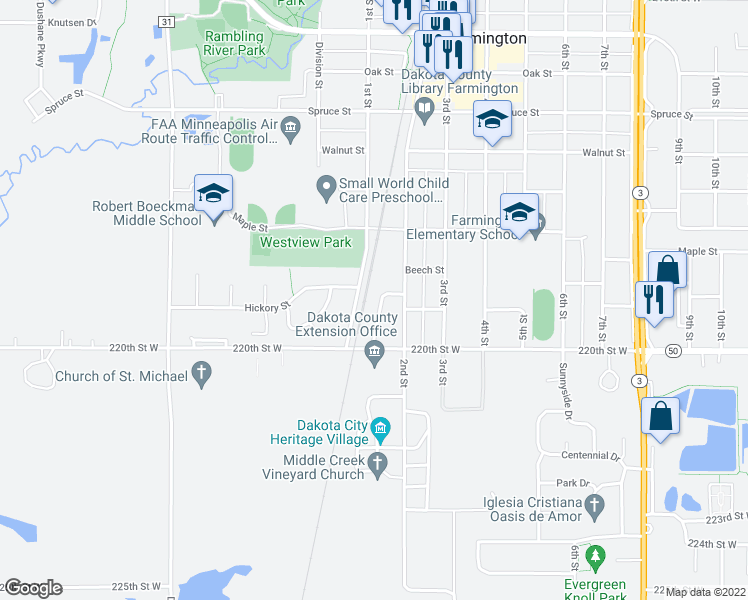map of restaurants, bars, coffee shops, grocery stores, and more near 916 Honeysuckle Lane in Farmington