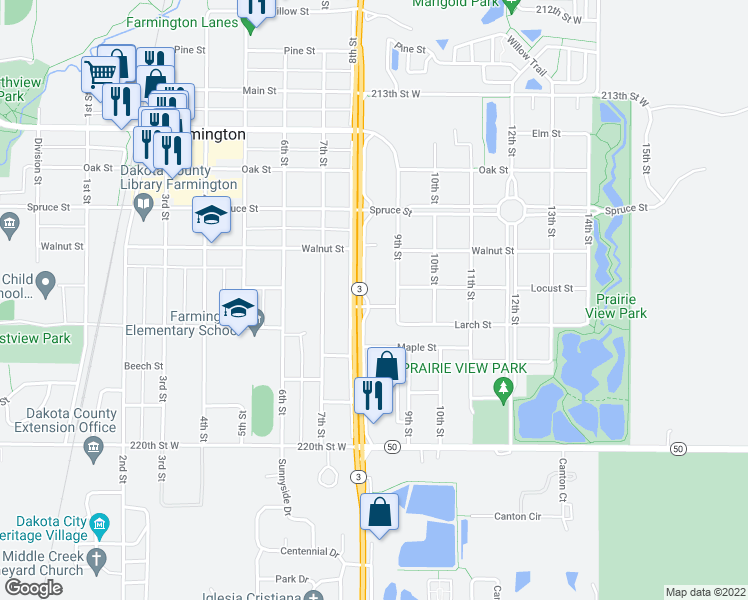 map of restaurants, bars, coffee shops, grocery stores, and more near 705 8th Street in Farmington