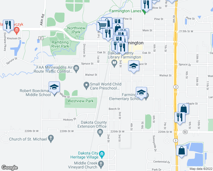 map of restaurants, bars, coffee shops, grocery stores, and more near 622 2nd Street in Farmington