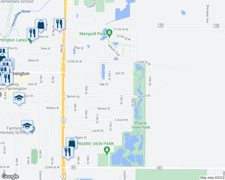 map of restaurants, bars, coffee shops, grocery stores, and more near 407 12th Street in Farmington