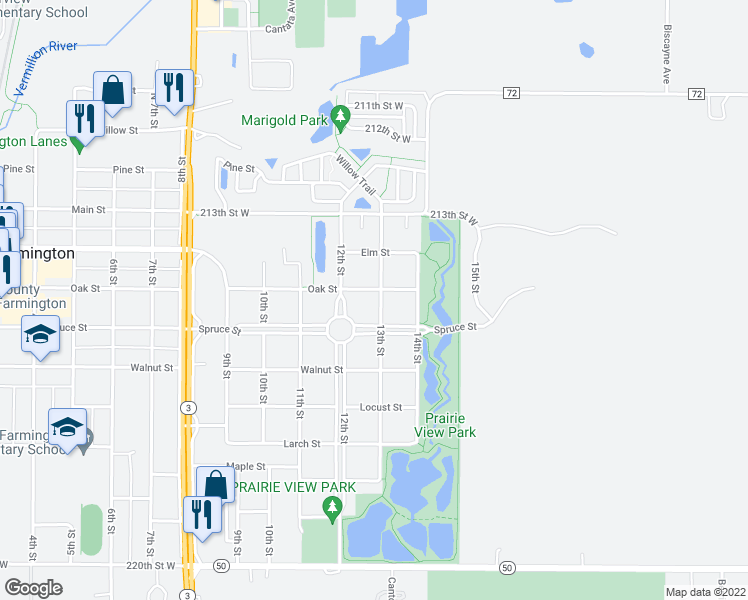 map of restaurants, bars, coffee shops, grocery stores, and more near 404 13th Street in Farmington