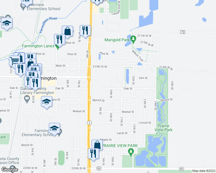 map of restaurants, bars, coffee shops, grocery stores, and more near 917 Oak Street in Farmington
