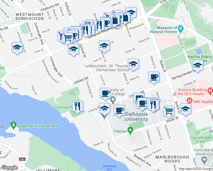 map of restaurants, bars, coffee shops, grocery stores, and more near 1597 Larch Street in Halifax