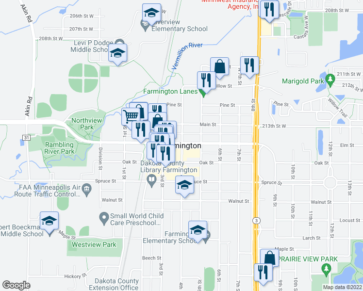 map of restaurants, bars, coffee shops, grocery stores, and more near in Farmington
