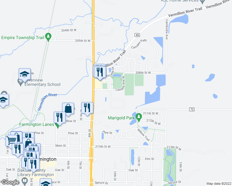 map of restaurants, bars, coffee shops, grocery stores, and more near 3350 209th Street West in Farmington
