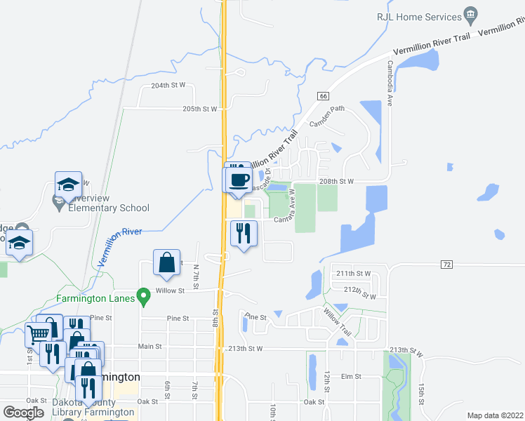 map of restaurants, bars, coffee shops, grocery stores, and more near 958 Catalina Way in Farmington