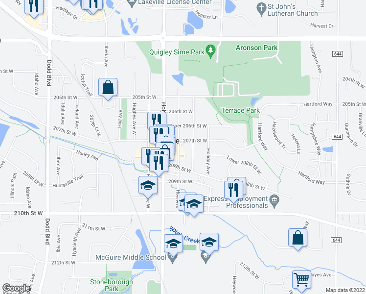 map of restaurants, bars, coffee shops, grocery stores, and more near 20720 Holt Avenue in Lakeville