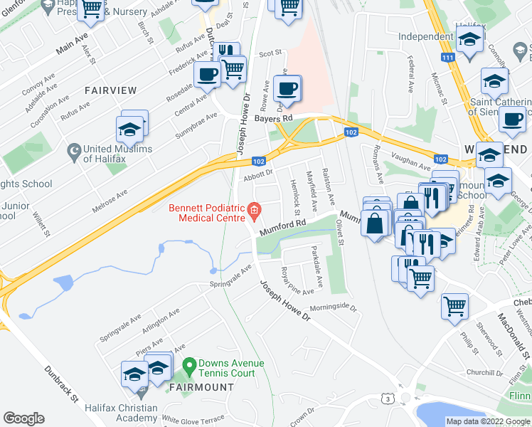 map of restaurants, bars, coffee shops, grocery stores, and more near 3127 Stanford Street in Halifax