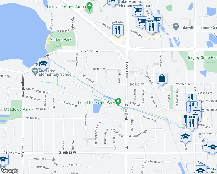 map of restaurants, bars, coffee shops, grocery stores, and more near 9385 207th Street West in Lakeville