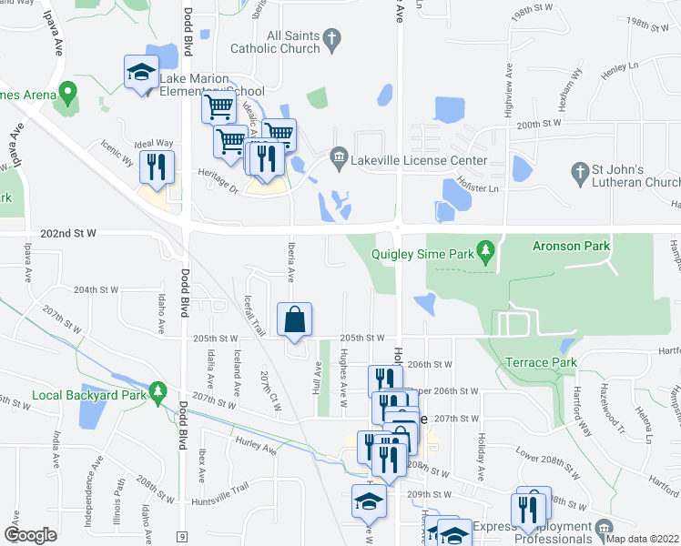 map of restaurants, bars, coffee shops, grocery stores, and more near 20295 Hunter Court in Lakeville