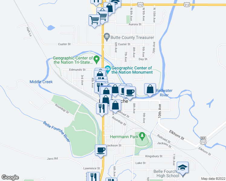 map of restaurants, bars, coffee shops, grocery stores, and more near 512 6th Avenue in Belle Fourche