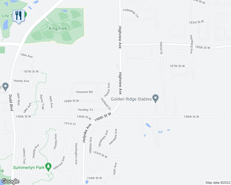 map of restaurants, bars, coffee shops, grocery stores, and more near 8642 193rd Street West in Farmington
