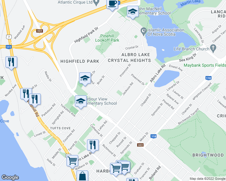 map of restaurants, bars, coffee shops, grocery stores, and more near 35 Primrose Street in Dartmouth