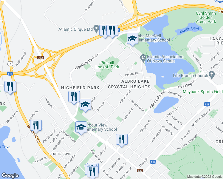 map of restaurants, bars, coffee shops, grocery stores, and more near 40 Brule Street in Dartmouth