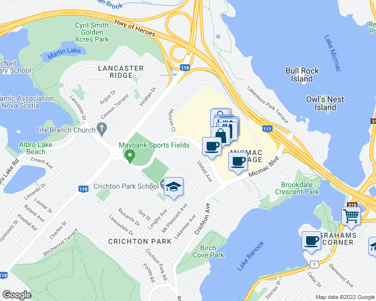 map of restaurants, bars, coffee shops, grocery stores, and more near 1000 Micmac Boulevard in Dartmouth