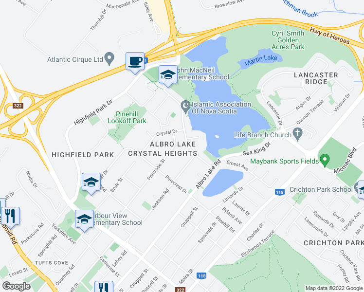 map of restaurants, bars, coffee shops, grocery stores, and more near 25 Leaman Drive in Dartmouth