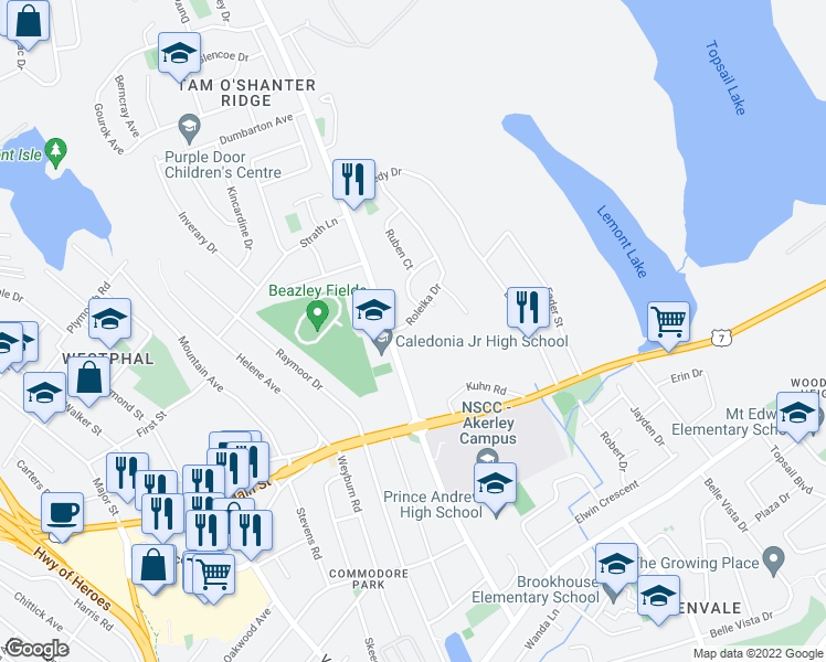 map of restaurants, bars, coffee shops, grocery stores, and more near 24 Roleika Drive in Dartmouth