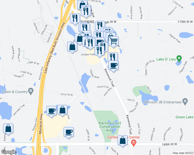 map of restaurants, bars, coffee shops, grocery stores, and more near 17870 Jubilee Way in Lakeville