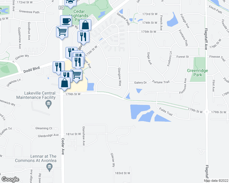 map of restaurants, bars, coffee shops, grocery stores, and more near 17860 Glasgow Way in Lakeville
