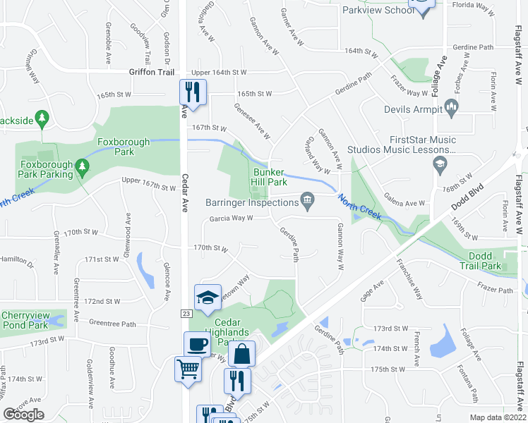 map of restaurants, bars, coffee shops, grocery stores, and more near 16885 Garcia Way West in Rosemount