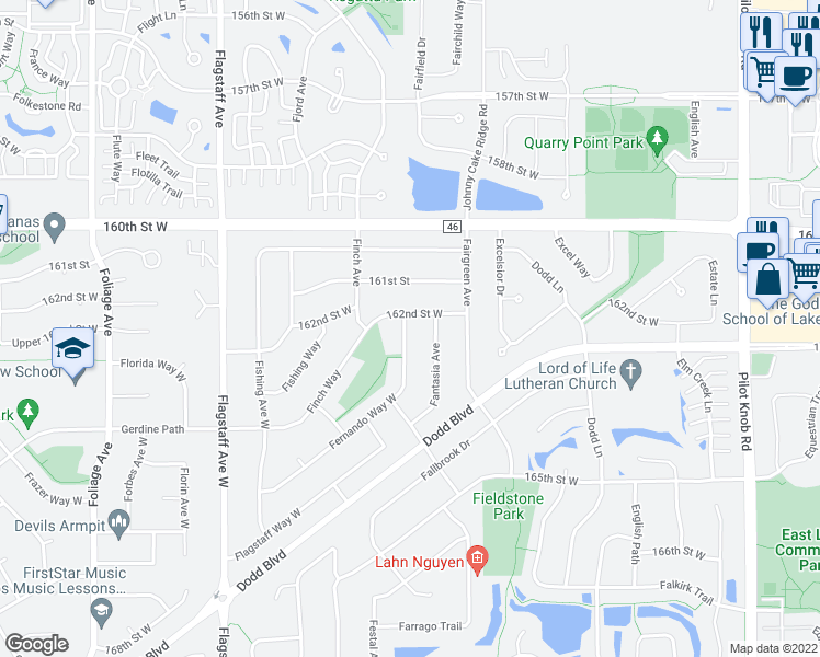 map of restaurants, bars, coffee shops, grocery stores, and more near 16218 Fernando Avenue in Rosemount