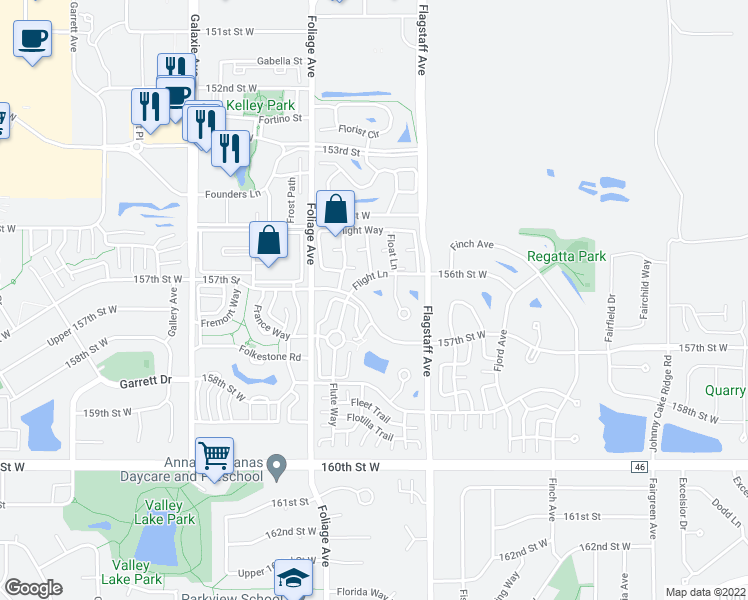 map of restaurants, bars, coffee shops, grocery stores, and more near 6468 157th Street West in Apple Valley
