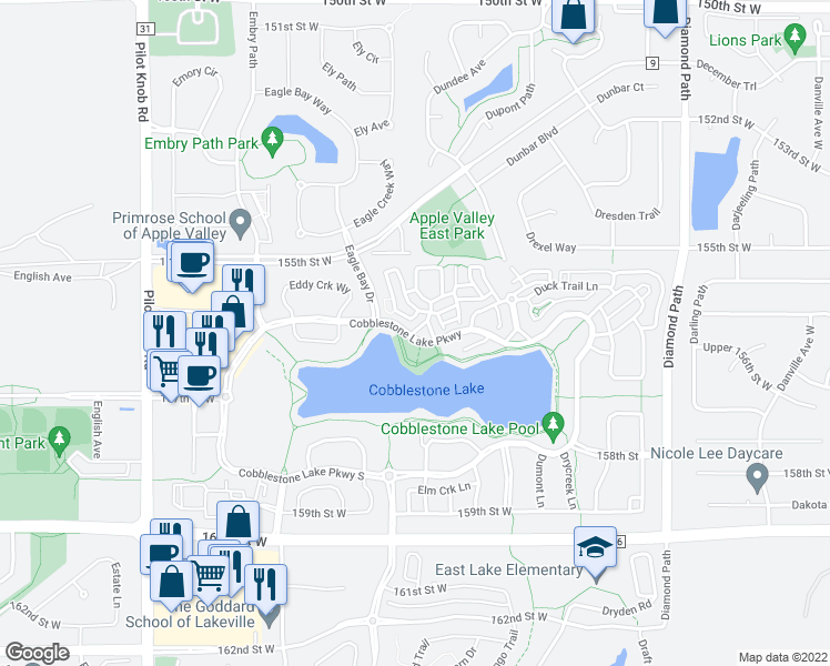 map of restaurants, bars, coffee shops, grocery stores, and more near 15624 Cobblestone Lake Parkway in Saint Paul