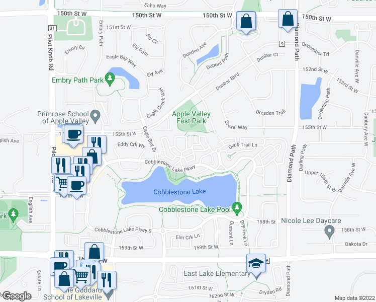 map of restaurants, bars, coffee shops, grocery stores, and more near 15584 Eastbrook Lane in Apple Valley