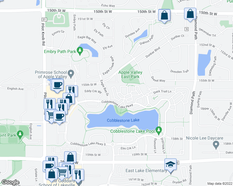 map of restaurants, bars, coffee shops, grocery stores, and more near 15618 Eagle Bay Drive in Apple Valley