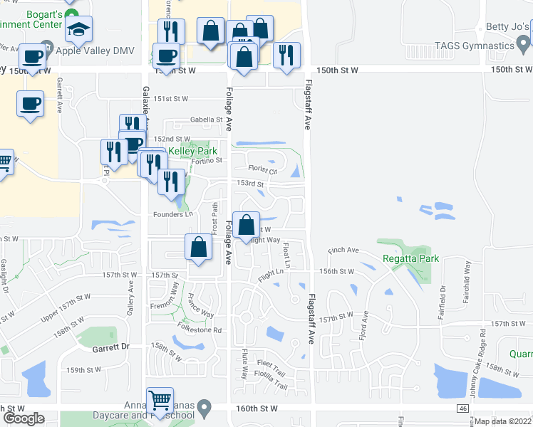 map of restaurants, bars, coffee shops, grocery stores, and more near 6573 154th Street West in Apple Valley