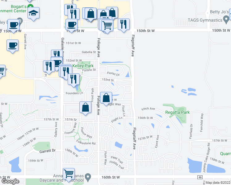 map of restaurants, bars, coffee shops, grocery stores, and more near 15293 Flower Way in Apple Valley