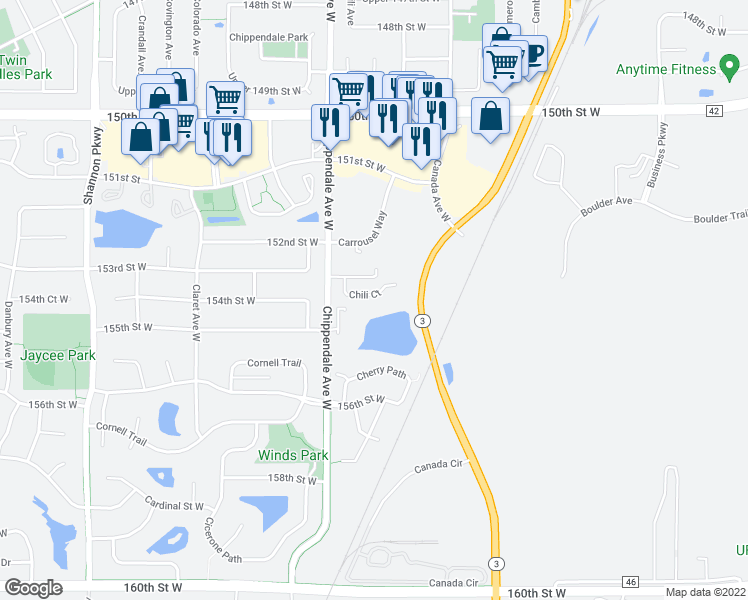 map of restaurants, bars, coffee shops, grocery stores, and more near 15360 Chili Court in Rosemount