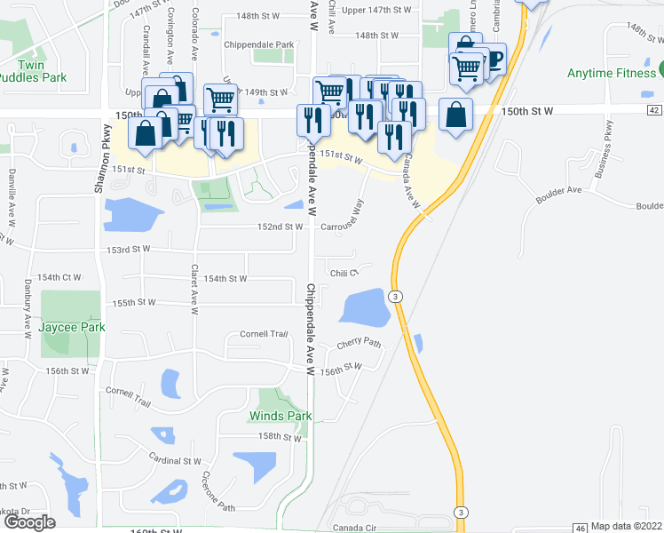 map of restaurants, bars, coffee shops, grocery stores, and more near 15315 Chili Court in Rosemount