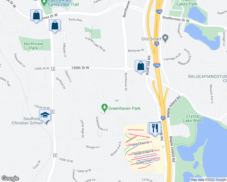 map of restaurants, bars, coffee shops, grocery stores, and more near 15101 Greenhaven Drive in Burnsville
