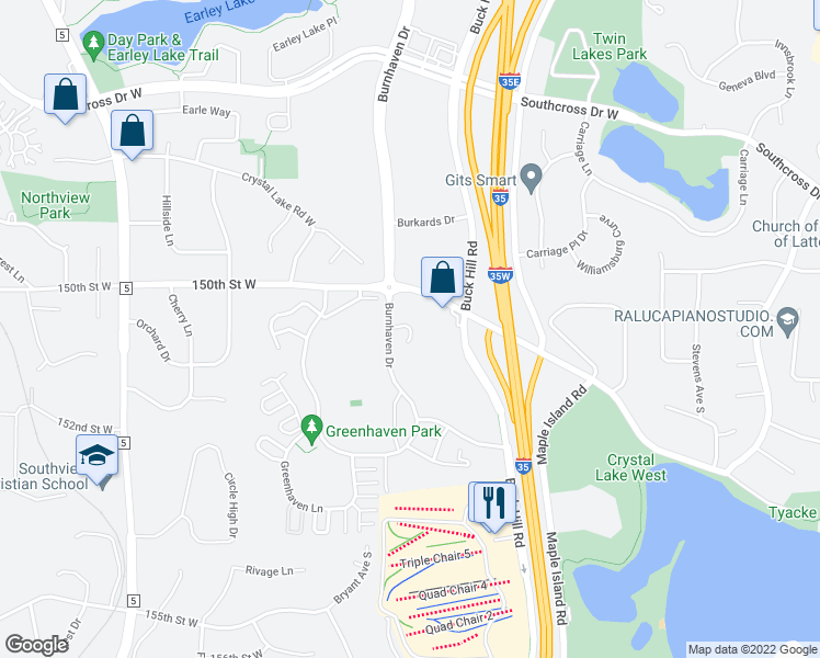 map of restaurants, bars, coffee shops, grocery stores, and more near 15001 Burnhaven Drive in Burnsville