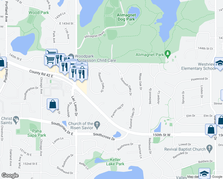 map of restaurants, bars, coffee shops, grocery stores, and more near 1509 Summit Oaks Court in Burnsville