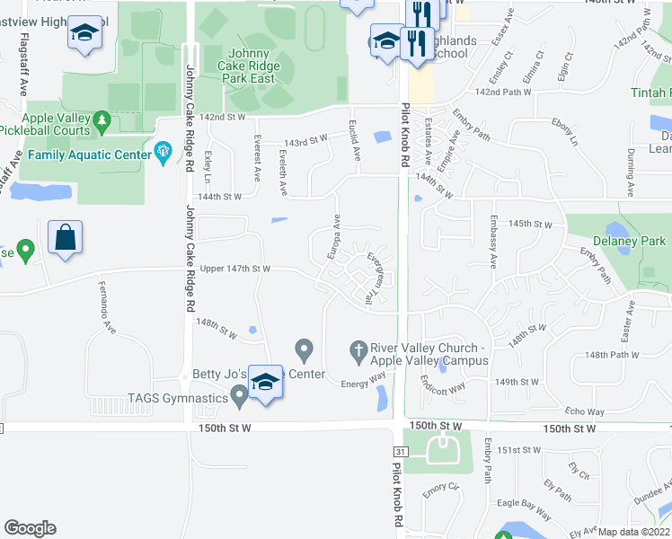 map of restaurants, bars, coffee shops, grocery stores, and more near 14764 Excelsior Lane in Apple Valley