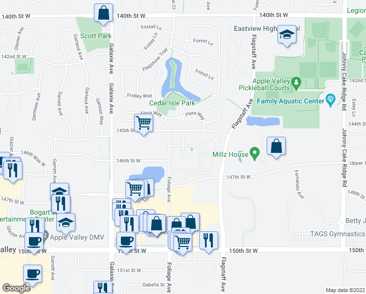 map of restaurants, bars, coffee shops, grocery stores, and more near 14572 Florissant Path in Apple Valley