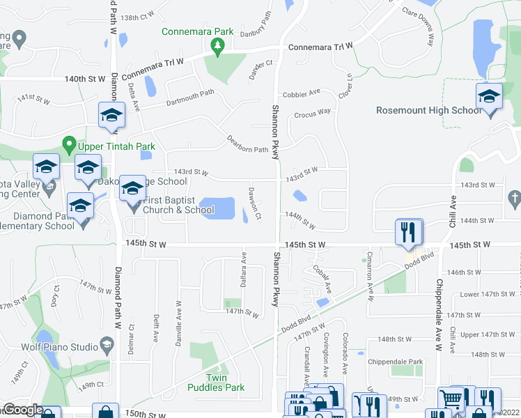 map of restaurants, bars, coffee shops, grocery stores, and more near 14394 Dawson Place in Rosemount