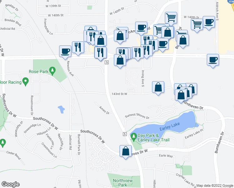 map of restaurants, bars, coffee shops, grocery stores, and more near 1600-1700 Whispers Oaks in Burnsville
