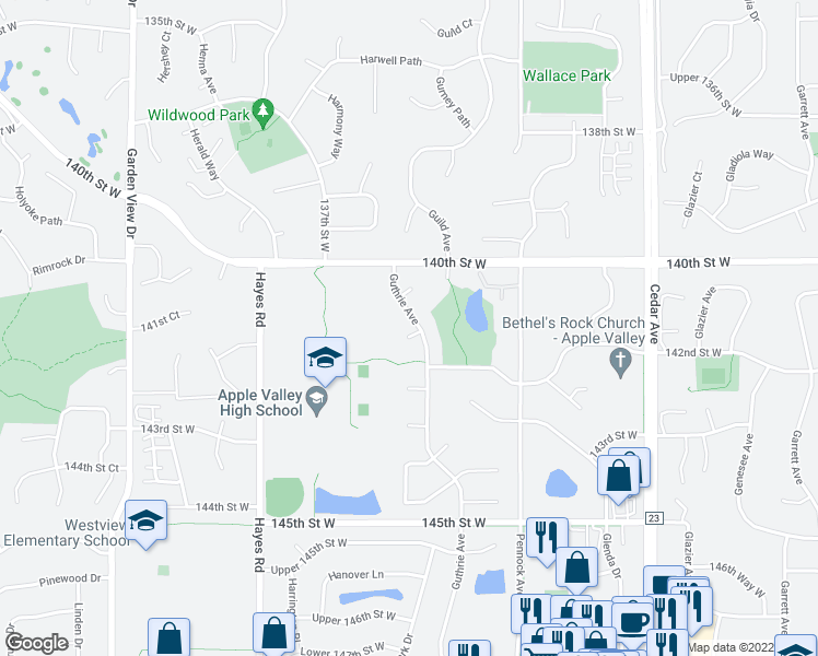 map of restaurants, bars, coffee shops, grocery stores, and more near 14115 Guthrie Avenue in Apple Valley